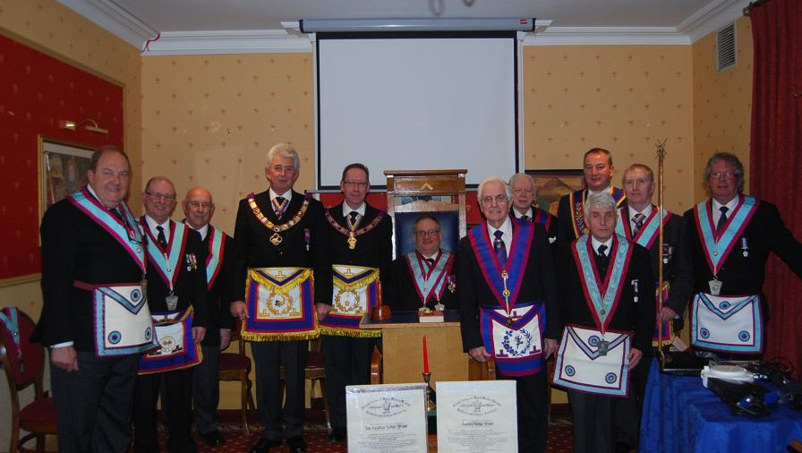 Camden Lodge of MMM Celebrates 125 years of Mark Masonry with VW Bro Bill Divall,DepPGM, W Bro Alan White, Dep ProvGSec plus other guests and members. 17th February 2015