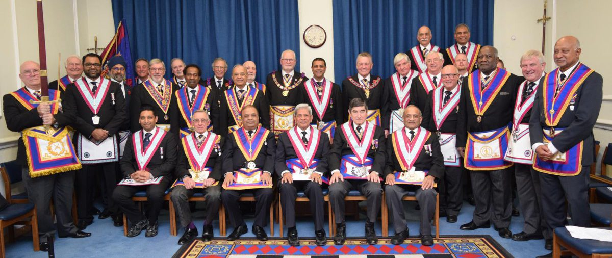 A Warm Reception for the PGM, David Ashbolt, APGM Henry Hobson, ProvGW Brian Parkins, the Mad Axeman - W Bro Charlie Newman and a numerous Delegation at Mahajan Lodge 8th November 2016