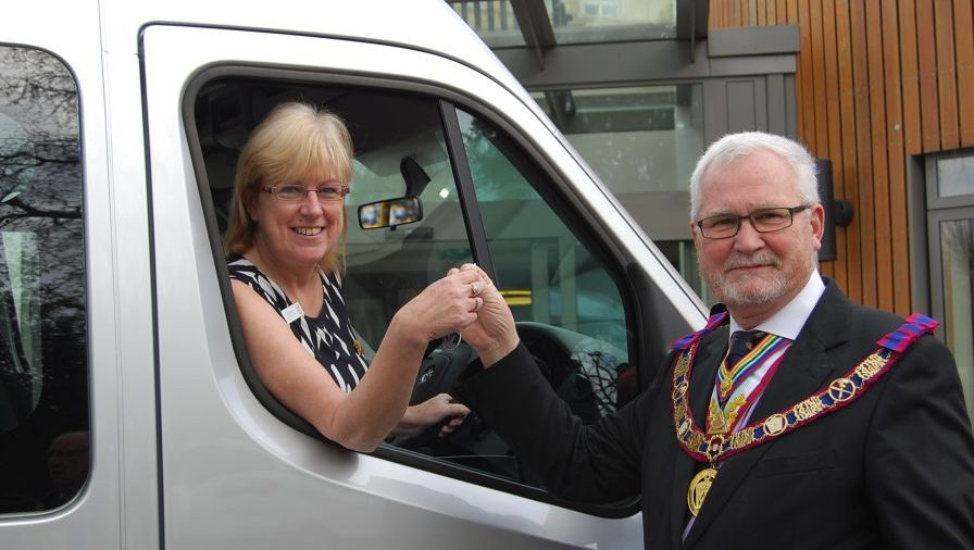 The Fourth Mini-bus was presented to James Terry Court RMBI Home in South Croydon. (Click here to open)