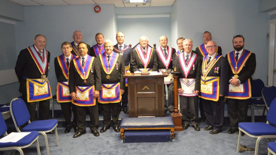 Delegation visit to Centenary Lodge by VW.Bro Paul Muston APGM on 19th October