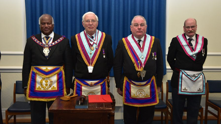 VW. Bro. Jerry Gangadeen APGM together with a delegation of Provincial Grand Officers visit United Services lodge No 489 on the 8th November.