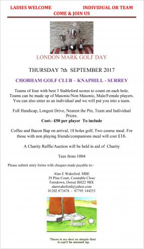 London Mark Provincial Annual Golf Day 7th September 2017