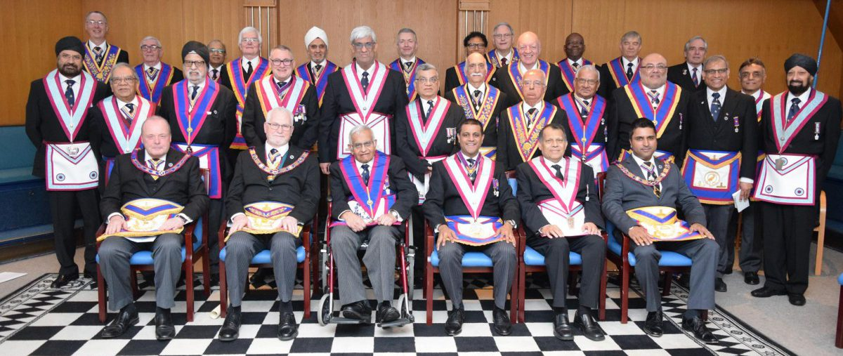 PGM David Ashbolt visits Equator to present 50 Year Certificates to the Father of the Lodge, Chottulal Damji Pattni