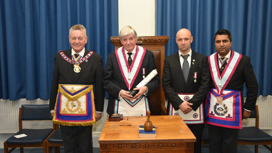 W. Bro. Henry Hobson APGM and a discerning delegation of Provincial Grand Officers attended a meeting of Mahajan Lodge on 14th November