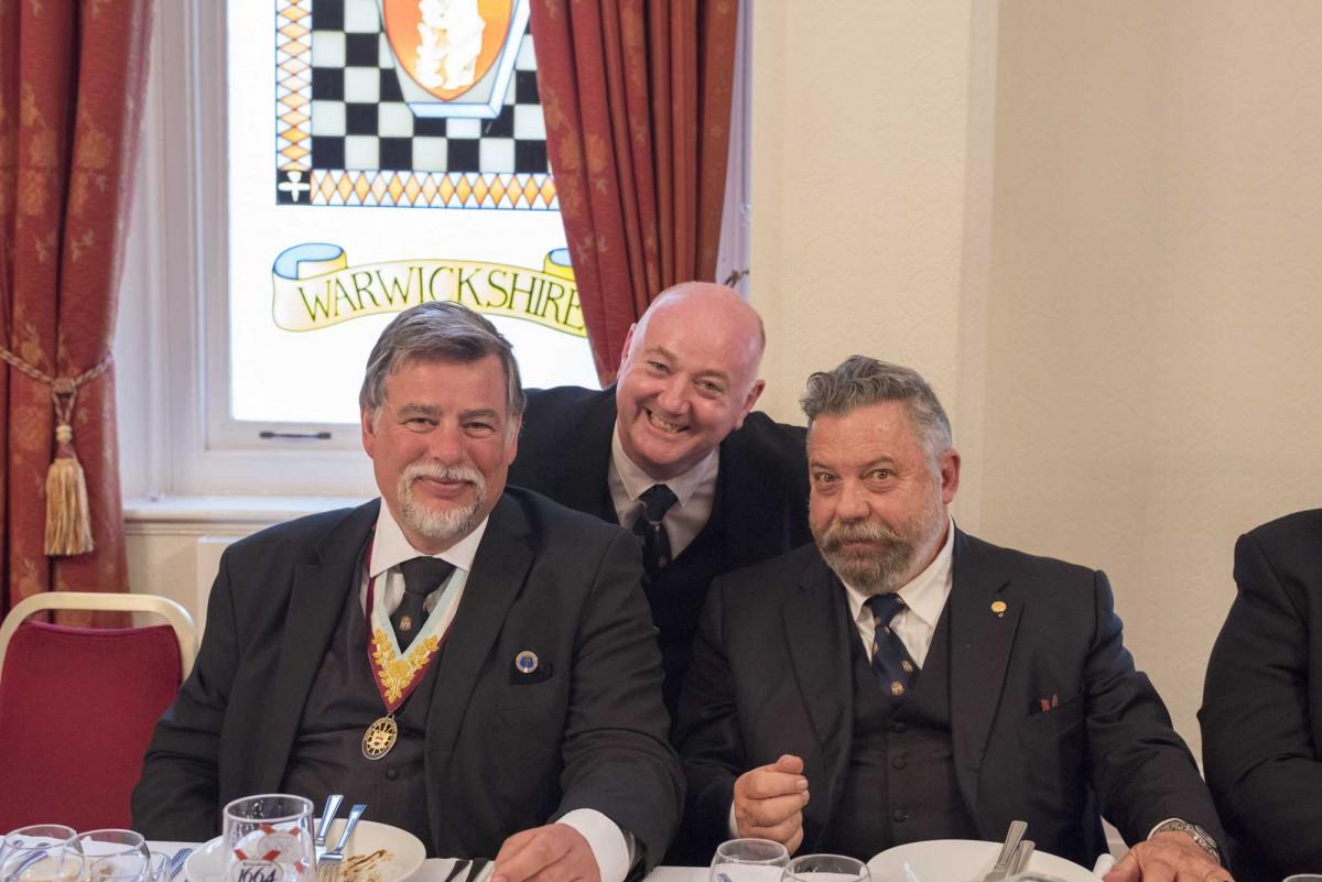 APGM W. Bro. Cliff Sturt with Worshipful Master W. Bro. Francesco Soldano, with a very happy Escorting Officer W. Bro. Martin Vidler