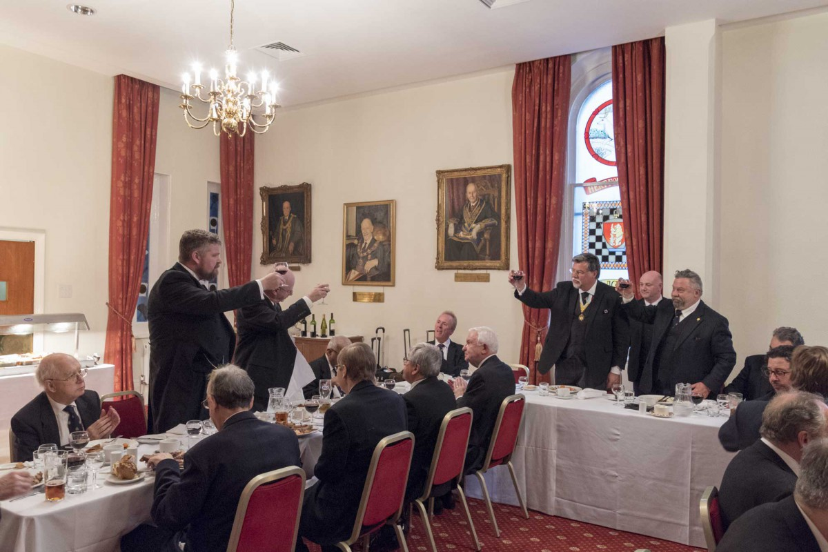 APGM and Worshipful Master taking wine with the Icelandic visitors