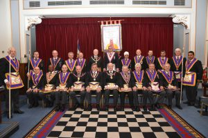 The PGM RW. Bro. David Ashbolt attended Gallipoli lodge on 3rd November to consecrate their new Mark Lodge Banner.