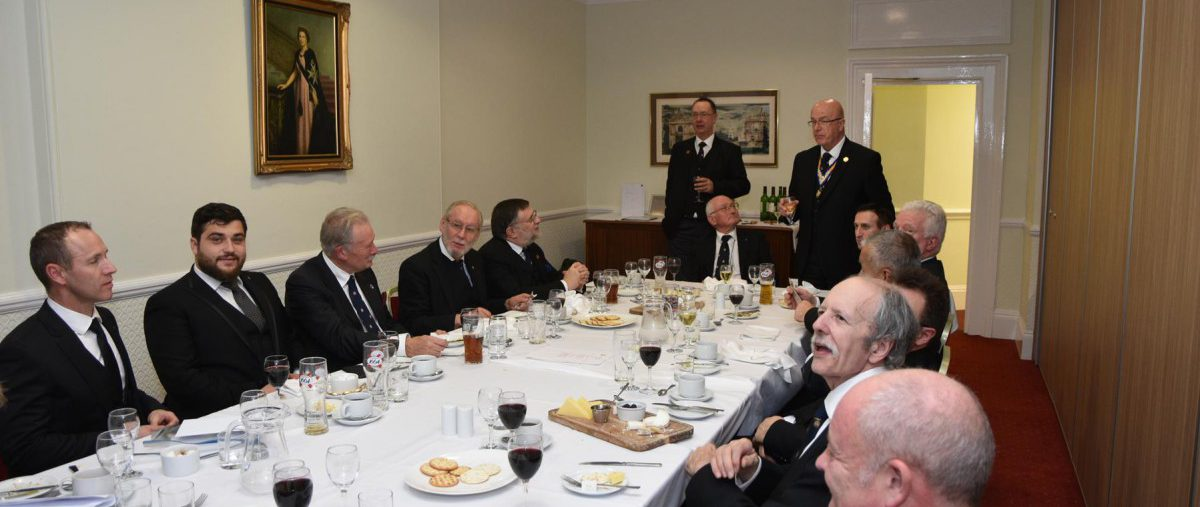 The Provincial Grand Master made a fortuitous surprise visit to the Old Kent lodge festive board on the 26th November.