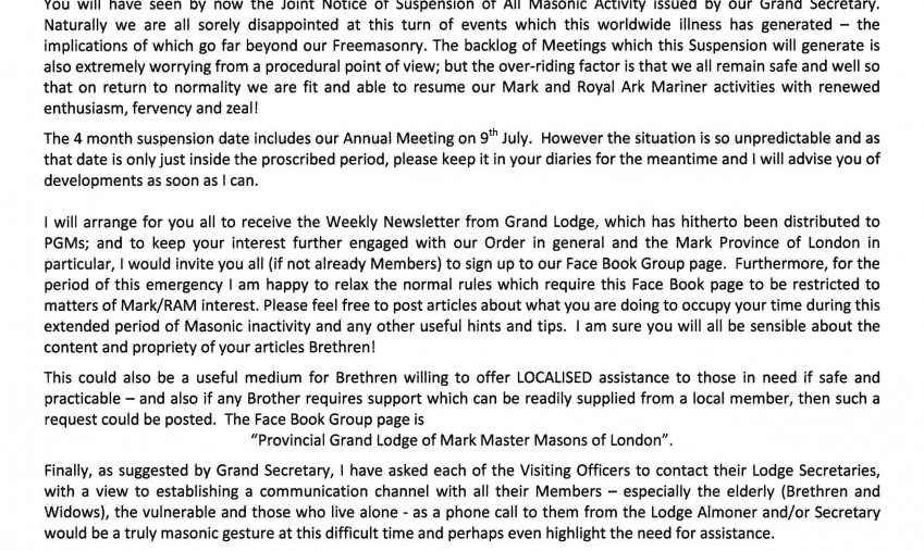A Message from the PGM regarding Covid-19