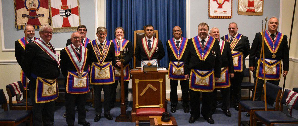 VW. Bro. David Lucas APGM and a delegation visit Meridian Lodge No 936 on 15 September 2021.